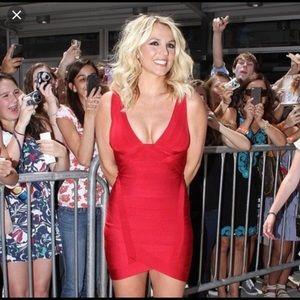 Herve Leger red bandage dress. Size XS